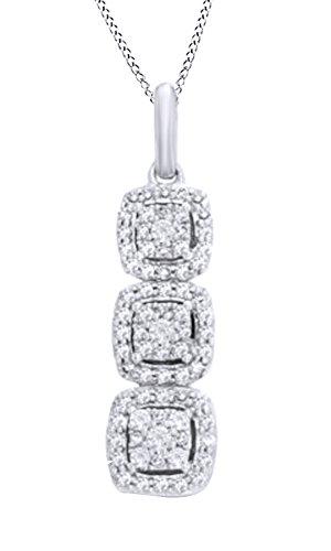 - Jewel Zone US White Natural Diamond Past Present Future Square Frame Pendant Necklace in 10k White Gold (0.33 Carat)