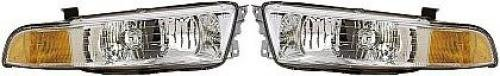 Pair/Set - Compatible 1999-2001 Mitsubishi Galant Front Headlights Headlamps Assemblies Front Housing/Lens / Cover - Left & Right (Driver & Passenger) Replacement for Mitsubishi ()