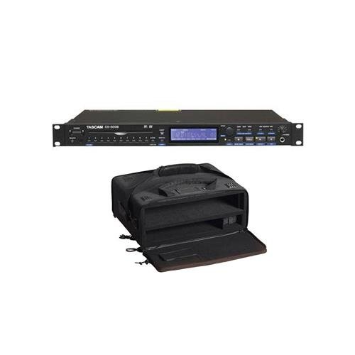 Tascam Single - Tascam CD-500B Single-Rackspace CD Player (Balanced), 20Hz-20kHz Frequency Response, 90dB Dynamic Range With Gator Cases GSR-2U Studio 2 Go Carrying Case