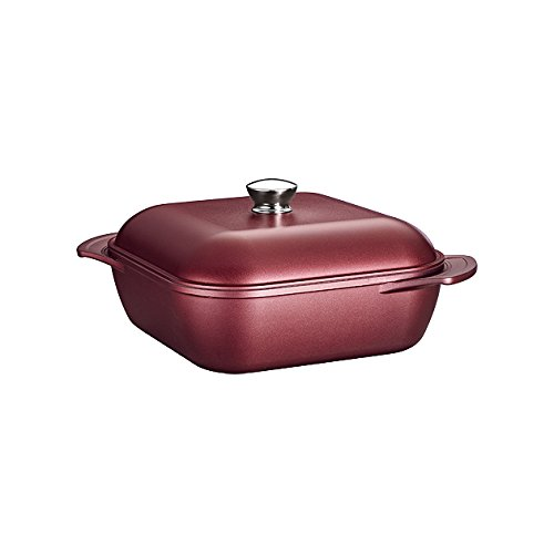 Tramontina 80142/029DS LYON Cold-Forged Induction-Ready Aluminum with Ceramic-Reinforced Nonstick Covered Square Roaster, 6-Qt, Garnet, Made in Brazil