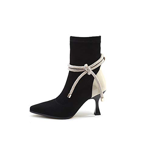 Black Courtes Pointu Femme A Bout Bottes Stiletto élastiques Hauts Talons xqw7RXf8