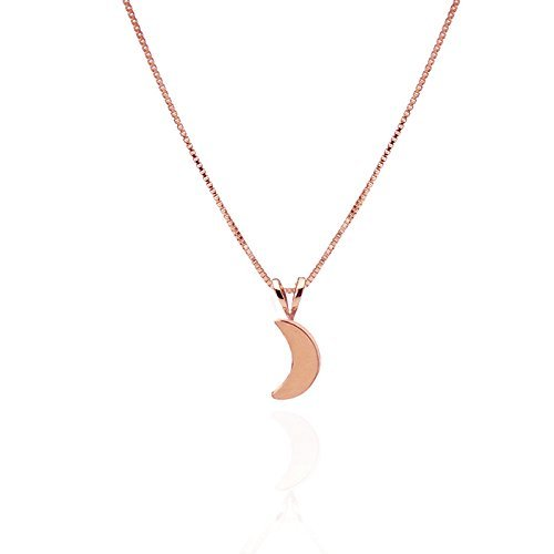 14k Rose Gold CRESCENT MOON Necklace Pendant Friendship charm Gift Moon and Star Jewelry by my rozmarin
