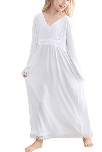 White Nightgown Halloween (PUFSUNJJ Little Girls Long Sleeve Princess Nightgown Sleepwear Dress 3-12)