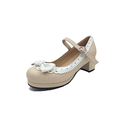 Cosplay Chunky Cute Lolita Pumps Mary Shoes Beige Jane Mid Heel Women's Bow ELFY 0Sw5t0