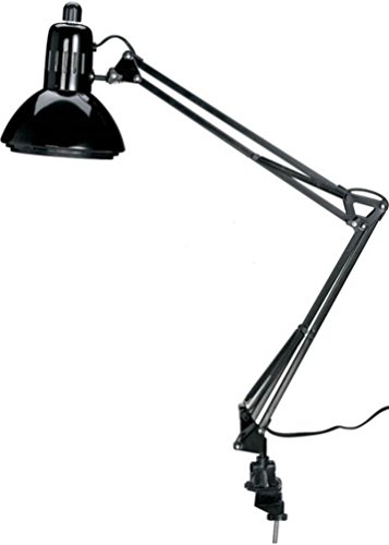 Alvin G2540-B Swing-Arm Lamp, Uses Bulbs with E26 Screw Base Up to 100W Which Can Also Be LED or CFL, Bulb not Included, Spring-balanced Arm, Black Color ()