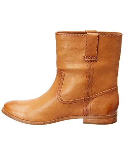 FRYE Womens Anna Short Leather Almond Toe Ankle Cowboy Boots, Camel, Size 10.0