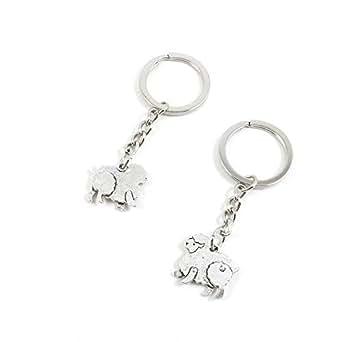 100 PCS Metal Antique Silver Plated Keychains Keyrings Keytag A2GI7 Sheep Lamb Goat Key Chain Ring