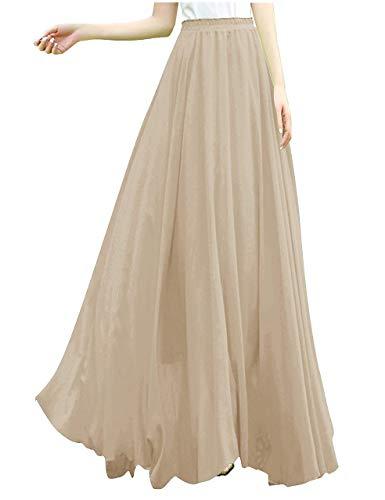 v28 Women Full/Ankle Length Elastic Retro Maxi Chiffon Long Skirt (XS,Coco)