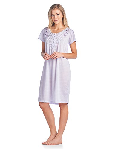 Embroidered Sleepshirt (Casual Nights Women's Fancy Lace Flower Short Sleeve Nightgown - Embroidered/Purple - Large)