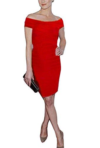 56001rojo sin Vestidos para Vestido Bandage Vestido Mangas Dress FARINA® Vendaje Mujer Bodycon Ajustado Bandage rayón qZwfUUx6Yz
