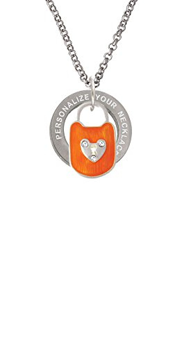 Hot Orange Enamel Lock - Hot Orange Enamel Lock with Clear Crystals Custom Engraved Affirmation Ring Necklace