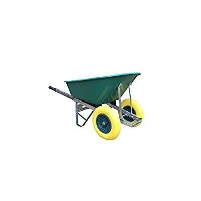 120L Green Twin Wheelbarrow Puncture Proof Wheelbarrow - Delivered Fully Assembled