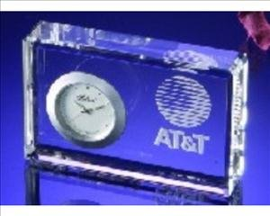 ANEDesigns Engraved Small Block Crystal Clock (Crystal Block Clock)