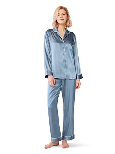 SIORO Silk Pajamas for Women Satin Pajama Sets Long Sleeve Button Down Sleepwear PJ's Soft Loungewear,Blue Gray M