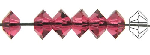 (3x5mm Hot Pink, Czech MC Spacer Bead (Squished Bicone), 36 pieces)