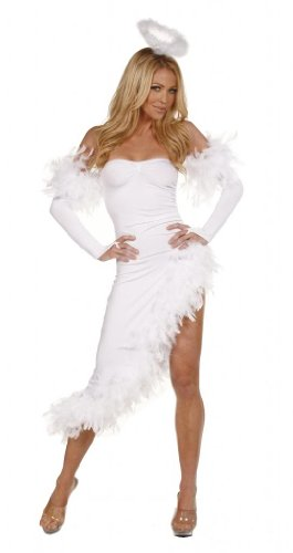 Nom de Plume, Inc Sexy Stretch Lycra Feathers Angel Gown With Gloves Large (Sexy Angel Gown)