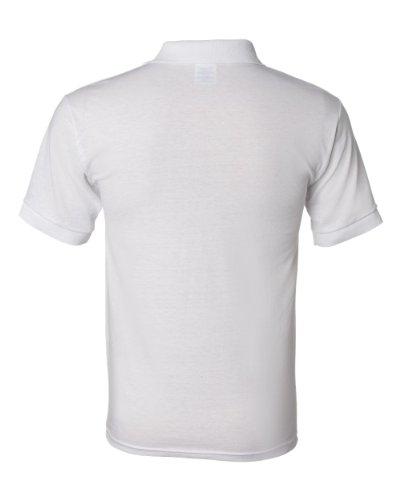 Button Welt Pockets (Sport Shirt with Pocket Jersey Knit 50/50 Blend by Gildan - White 8900 L)