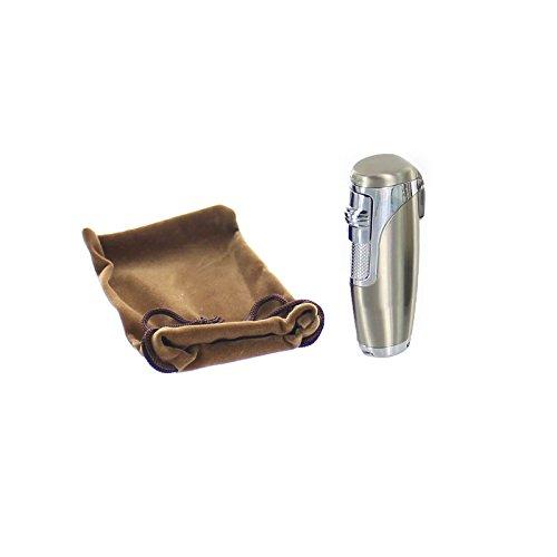 eSmart Adjustable Triple Jet Flame Lighter Butane Refillable With Cigar Punch (Champagne)