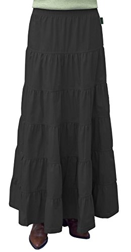 Baby'O Women's Ankle Length 6 Tiered Long Denim Prairie Skirt Extra Large Black