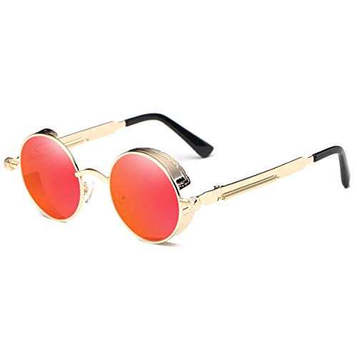 Dollger Vintage Steampunk Men Small Round Sunglasses Red Lens Gold Frame Mirrored Sunglasses ()