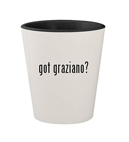 got graziano? - Ceramic White Outer & Black Inner 1.5oz Shot Glass (Michael Anthony White Earrings)