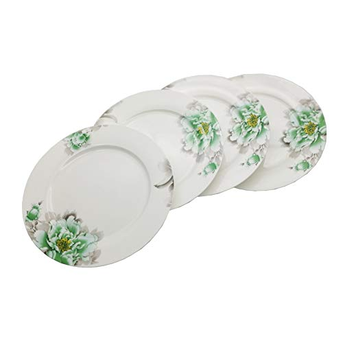 - FINECASA Bone China 10 inch Platter Steak/Butterfly/Dinner Plate Chinese Style Green Peony Series Plates Set of 4