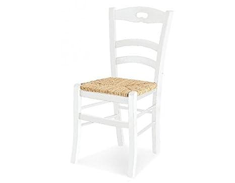 set di 2 sedie in legno colore BIANCO con seduta in paglia: Amazon ...