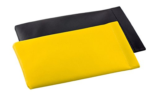Soft Glasses Case - 2-Pack of Pocket Glasses Case with Snap Closure in a Variety of Colors and Designs (faux leather case, yellow + black)