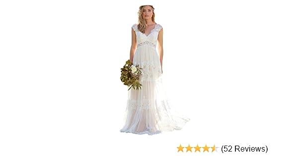 Dressesonline Women S V Neck Lace Bohemian Wedding Dresses