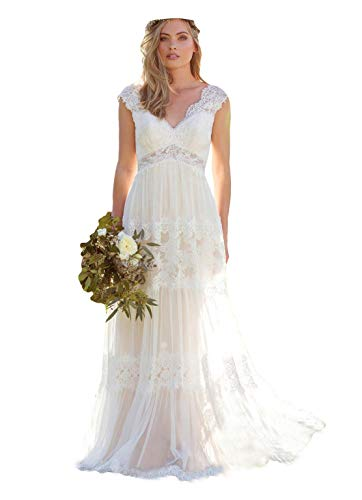 Dressesonline Women's Bohemian Wedding Dresses Lace Bridal Gown Backless Vestido De Noivas US10
