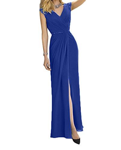Partykleider Abendkleider Blau Lang Damen Chiffon Brautmutterkleider Charmant Etuikleider Tuerkis Elegant Royal YawHxqU