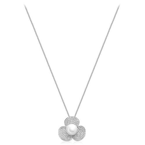 Carissima Gold Pendentif 18carats (750/1000) Or Blanc Rond Ronde Cultivées en eau douce Diamant et Perle Femme 46 centimeters