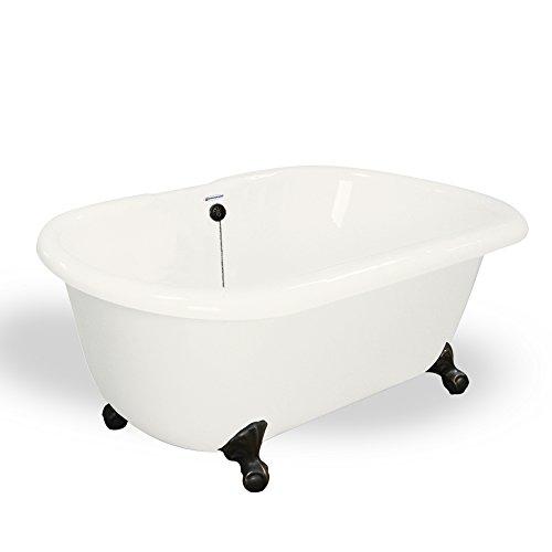 new American Bath Factory T070A-OB-B & DM-7 Melinda 60 in. Bisque Acrastone Tub & Drain44; Old World Bronze Metal Finish44; Small