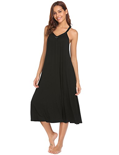 Ekouaer Women's Sleepwear Solid Color Sleeveless V Neck Nightgown Soft Nightdress Sleeping Dress Black Large