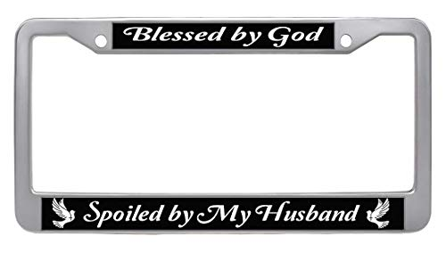 Car Auto Automotive Licence Plate Cover Holder JiuzFrames Blessed by God Spoiled by My Husband License Plate Frame Spoiled-4