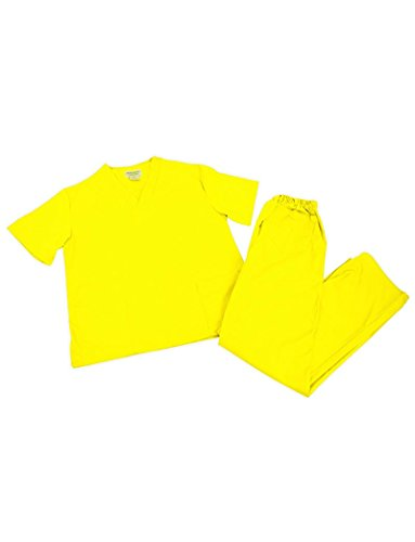 Women's Scrub Set - Medical Scrub Top and Pant, Yellow, Medium ()