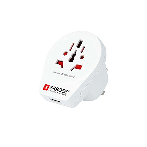 Skross World to UK USB Travel Adaptor, White