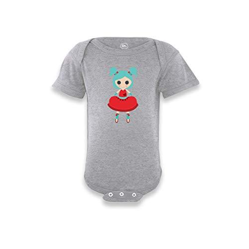 Rag Doll Red W Short Sleeve Envelope Neck Boys-Girls Cotton Baby Bodysuit One Piece - Oxford Gray, 18 - Rag Bodysuit Infant Doll