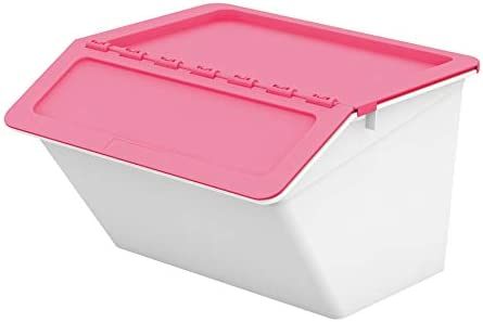 livinbox Storage Bins PP Plastic Pelican Stackable Cubes Containers Box with Hinged Lids, 30L,MHB-4541 – Pink