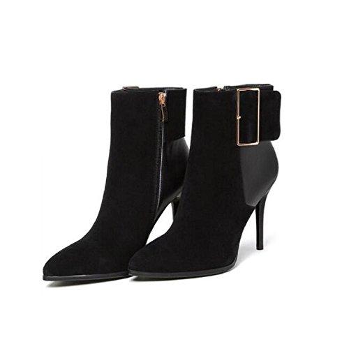 Bootie donne di cerniera tacco fibbia alla caviglia stivali , 36 39