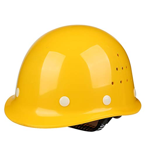 (JQJXAQM High-strength FRP Helmet Construction Site Construction Construction Safety Ventilation Helmet Labor Insurance Male National Standard (Color : Yellow))