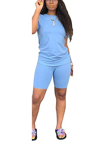 LKOUS Womens Summer 2 Piece Outfits Short Sleeve Round Neck T Shirt Tops and Shinny Shorts Pants Set Tracksuits Jumpsuit Blue