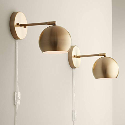 Selena Indoor Wall Lights LED with Cord Set of 2 Antique Brass Metal Plug in Light Fixture Sphere Shade Pin Up for…