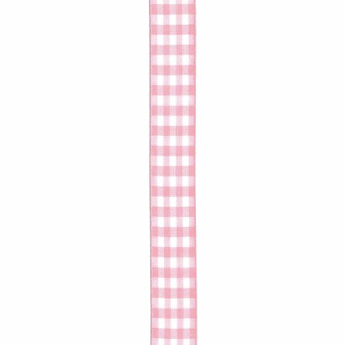 Offray Taffeta Gingham Check Craft Ribbon, 7/8-Inch x 9-Feet, Light Pink