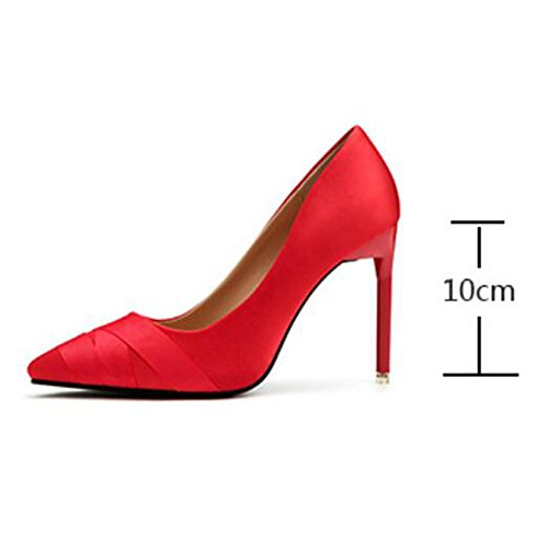 Professional Discothque Hauts Astuces Sexy Astuce Femmes Profondes Ol Peu Pompes Chaussures Satin Pour Talons Dames Sandales Rouge fWg8wtRq