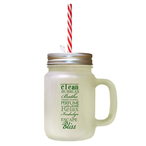 Forest GreenClean Bubbles Bath Perfume Relax Escape Frosted Glass Mason Jar With Straw