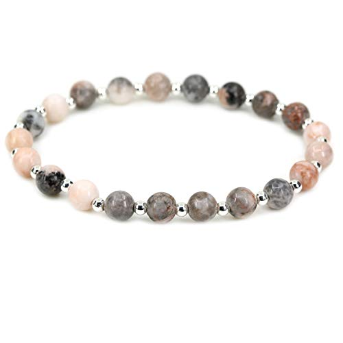 AMANDASTONES Natural Pink Zebra Jasper Gemstone 6mm Round Beads S925 Silver Stretch Bracelet 7