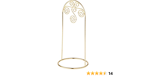 8 H x 3.75 W x 3.75 D Bards Arched Gold Ornament Stand Small Scroll