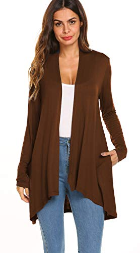 Women's Casual Long sleeve Open Front Lightweight Drape Cardigans With Pockets (US M(8-10), Brown)