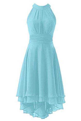 (Kevins Bridal Women's High Low Short Bridesmaid Dresses Chiffon Halter Prom Dress Sky Blue Size 8)